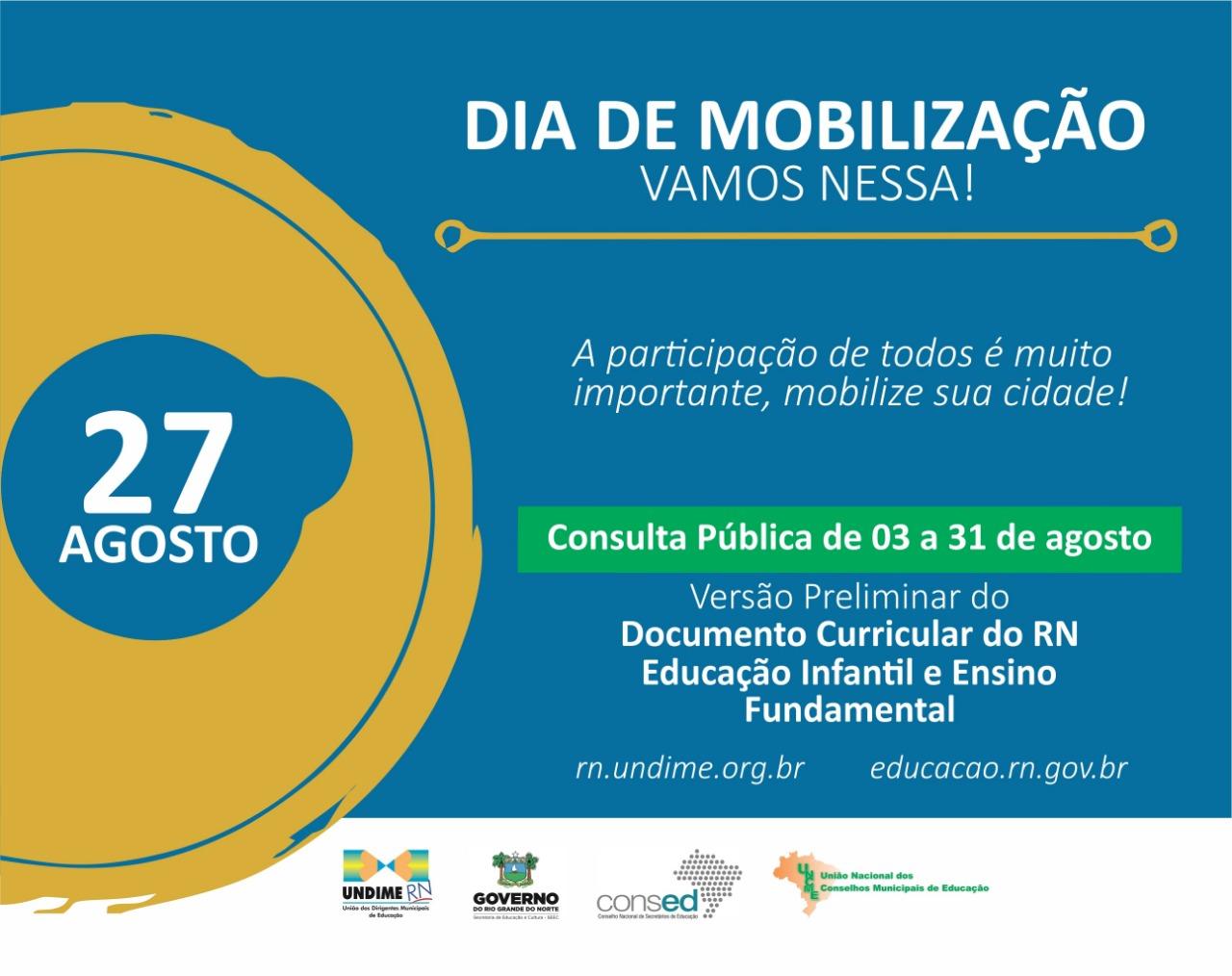 Municípios do RN são convidados para o Dia de Mobilização sobre Versão Preliminar do Documento Curricular do Ensino para Educação Infantil e Ensino Fundamental