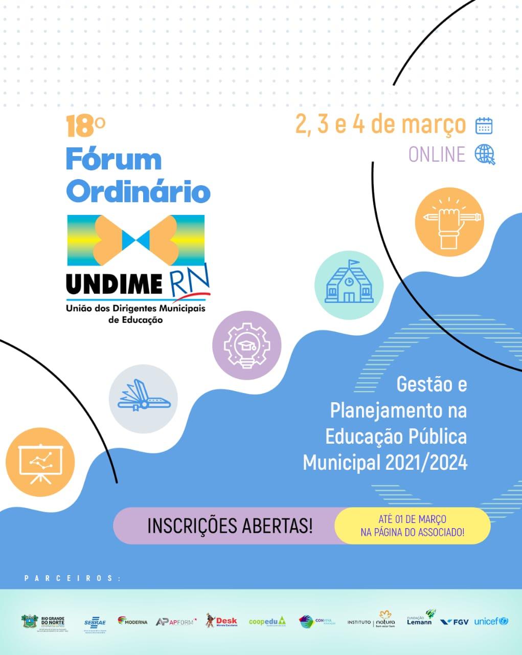 Inscrições abertas para o 18º Fórum Ordinário da UNDIME-RN